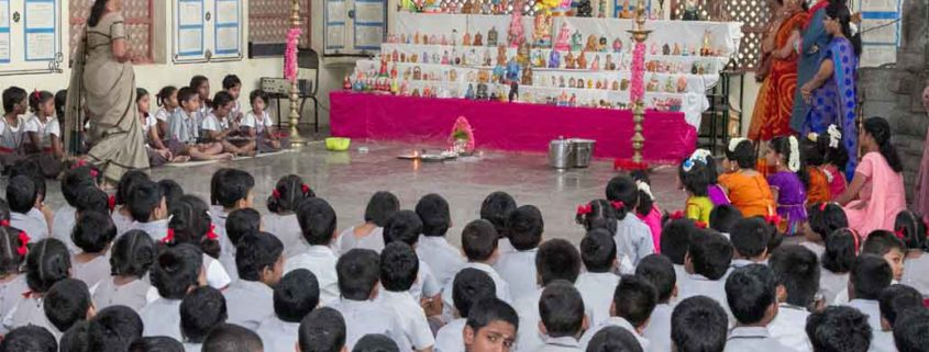 Students attending Navarathri Golu Celebrations