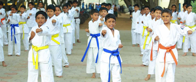 Karate exercise perks school